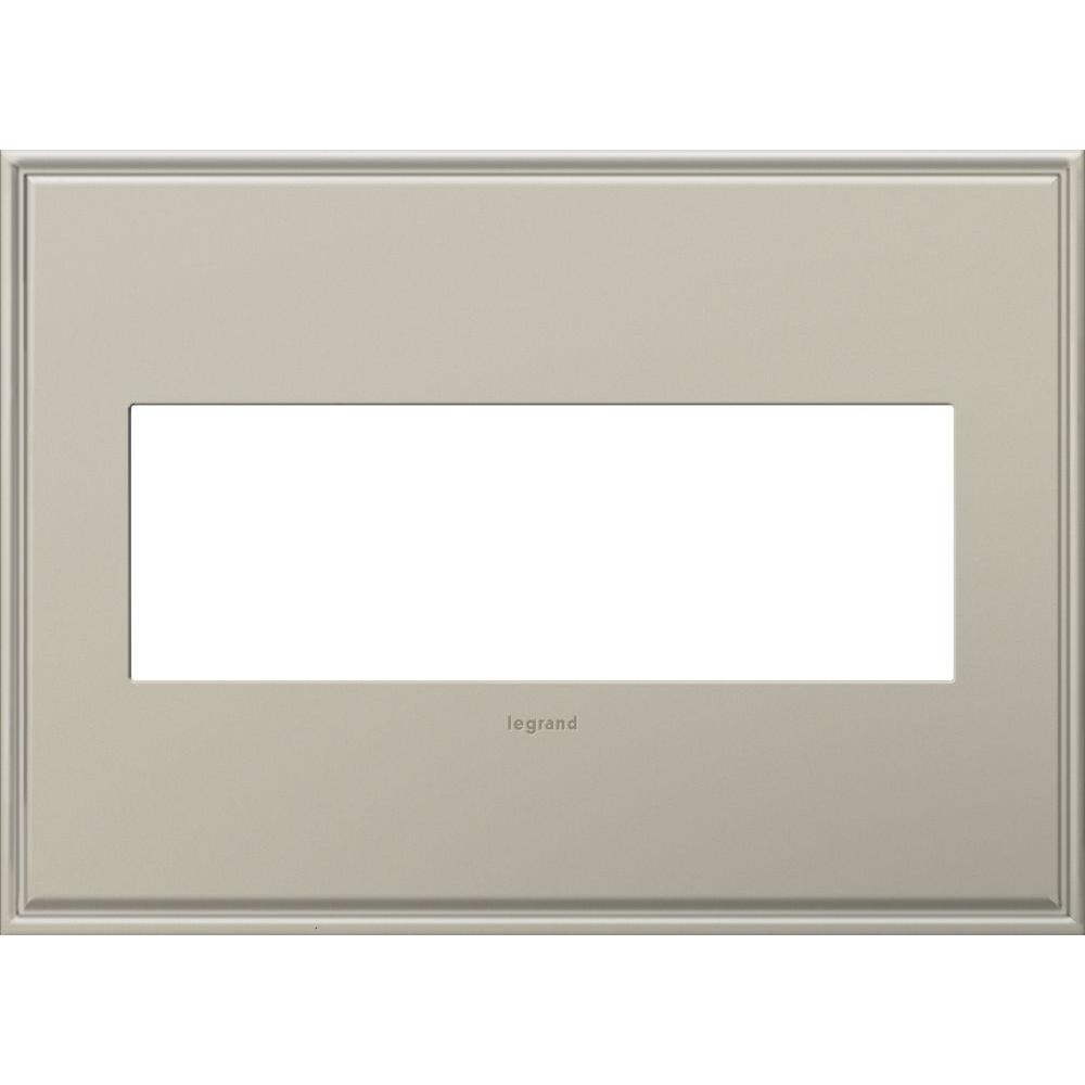 Legrand adorne 3-Gang Wall 3 Module Plate with Beaded Border, Antique Nickel
