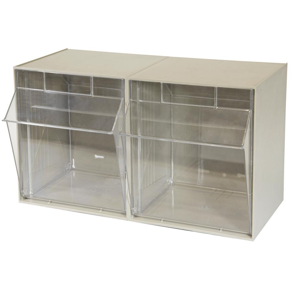 TiltView Cabinet 2 Bins, 30 lb. Capacity Storage Bins in Tan/Clear