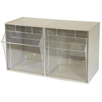 TiltView Cabinet 2-Compartment 30 lb. Capacity Small Parts Organizer Storage Bins in Tan/Clear