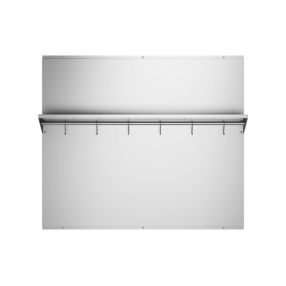 Ancona 36 in. x 30.75 in. Stainless Steel Backsplash with Stainless Steel  Shelf