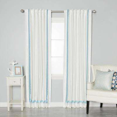 84 in. L Sky Blue Border Faux Silk Blackout Curtain Panel (2-Pack)