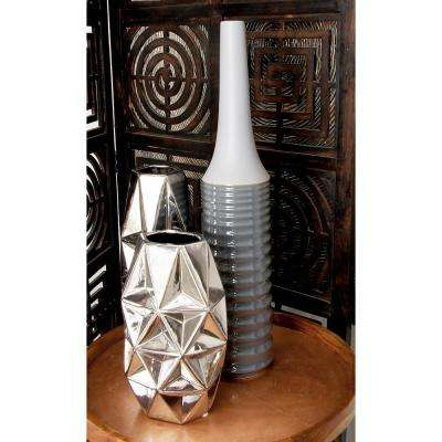 24 in. Modern Glossy Gray Ceramic Decorative Vase
