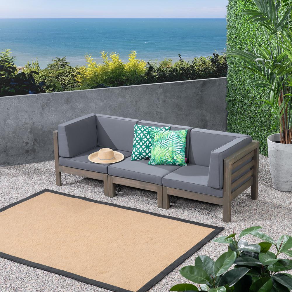Jonah gray 3 piece wood outdoor sofa with dark gray cushions
