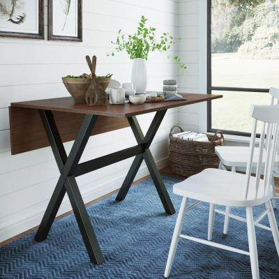 Kalos Cocoa Brown with Black Base Extendable Dining Table