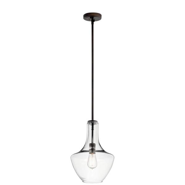 Everly 15.25 in. 1-Light Olde Bronze Bell Pendant Light with Clear Glass