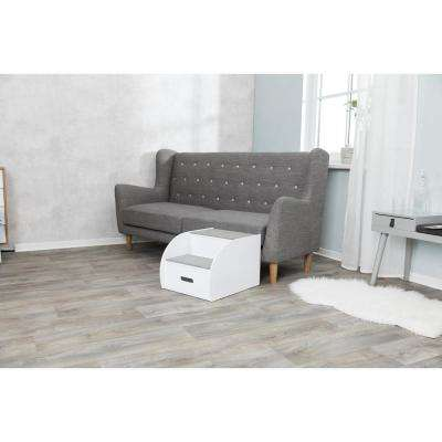 White 2-Step Wooden Pet Stairs