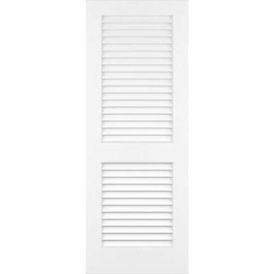 30 in. x 80 in. Kimberly Bay White Plantation Louver Panel Solid Core Wood Interior Door Slab