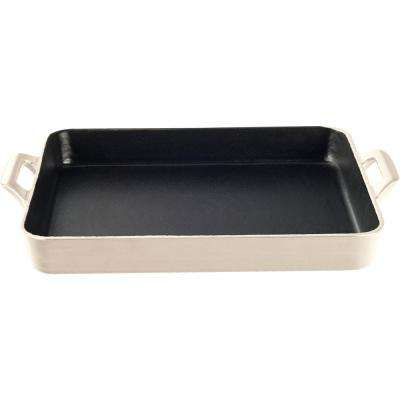 Shallow Cast Iron Roasting Pan with Enamel in Cream