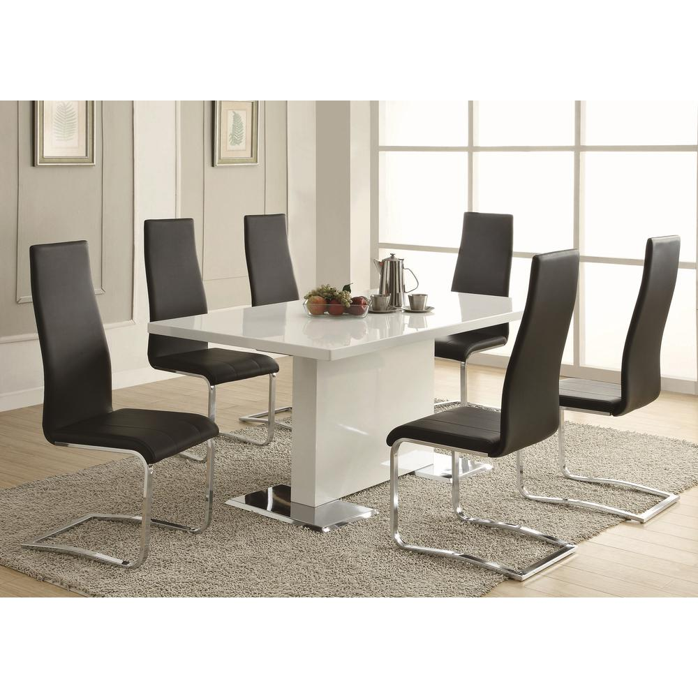 Coaster everyday dining black and chrome side chair set for Furniture coasters home depot