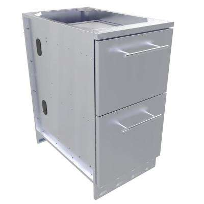 Designer Series Stainless Steel 18 x 34.5 x 28.25 in. Outdoor Kitchen Cabinet with Cutlery Drawer and Dry Storage