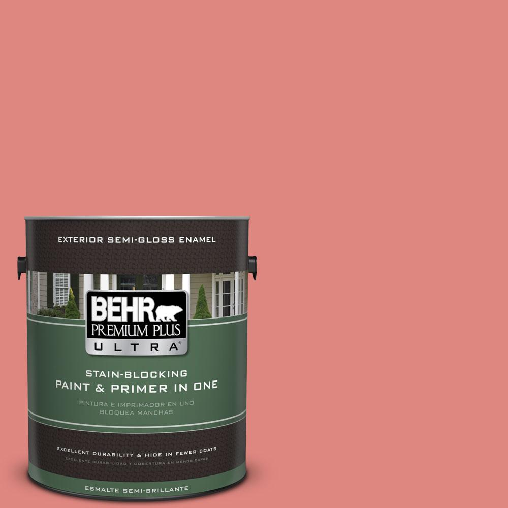 BEHR Premium Plus Ultra 1-gal. #PPU1-4 Wild Watermelon Semi-Gloss Enamel Exterior Paint