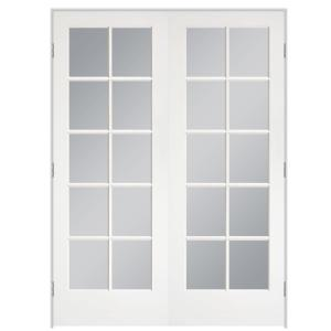 60 in. x 80 in. 10-Lite Primed White Hollow-Core Smooth Pine Prehung Interior French Door