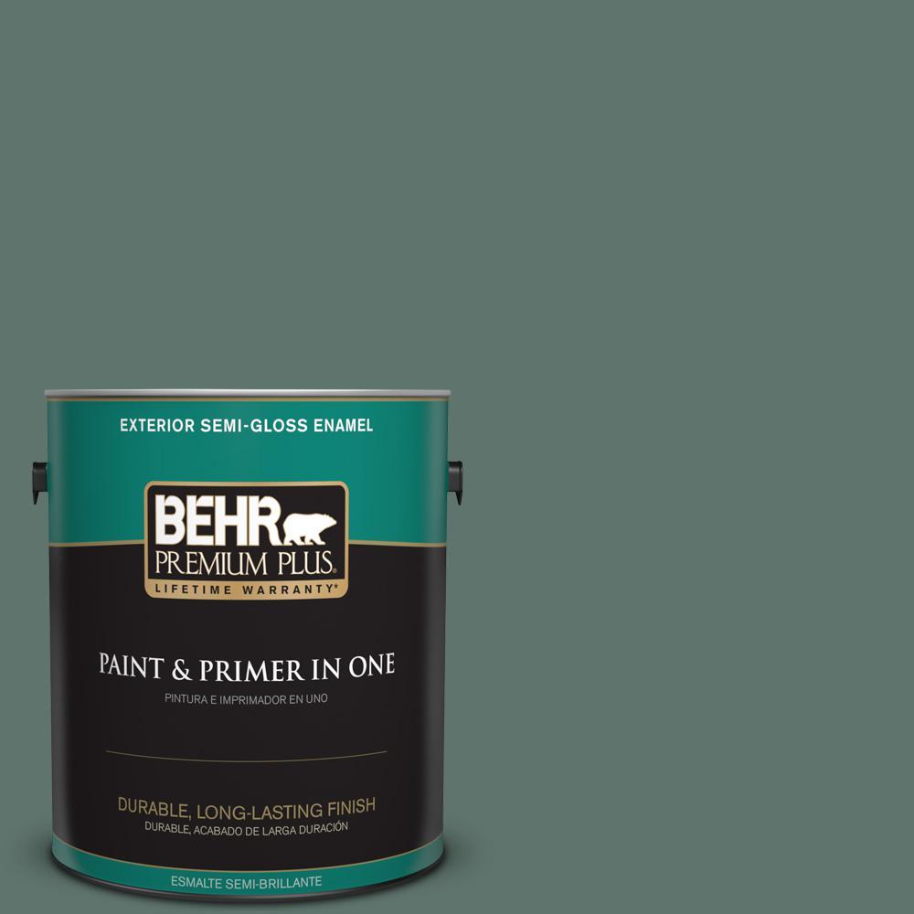1 gal. #PPU12-17 Cameroon Green Semi-Gloss Enamel Exterior Paint