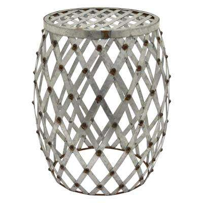 12 in. x 15.25 in. x 18 in. Metal Stool Galvanize in Gray
