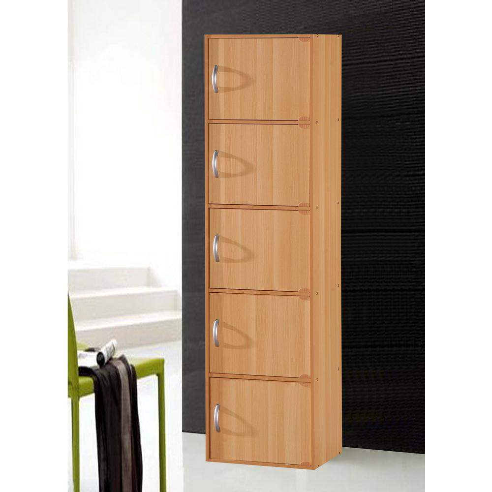 H Beech Bookcase with Doors  sc 1 st  The Home Depot & Hodedah 5-Shelf 59 in. H Beech Bookcase with Doors
