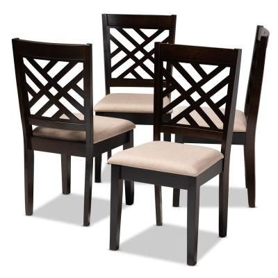Caron Sand Brown and Espresso Fabric Dining Chair (Set of 4)