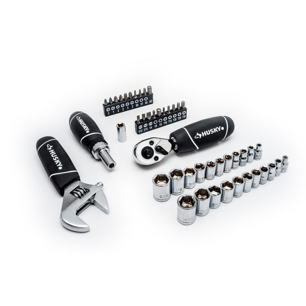 Husky 1/4 in  and 3/8 in  Stubby Ratchet and Socket Set (46-Piece)