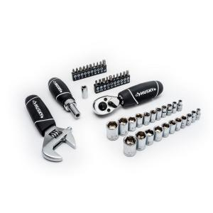 Husky 1/4 in. and 3/8 in. Stubby Ratchet and Socket Set 46-Pcs Deals