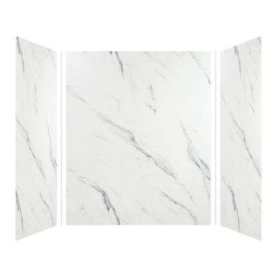 Expressions 42 in. x 60 in. x 72 in. 3-Piece Easy Up Adhesive Alcove Shower Wall Surround in Bianca