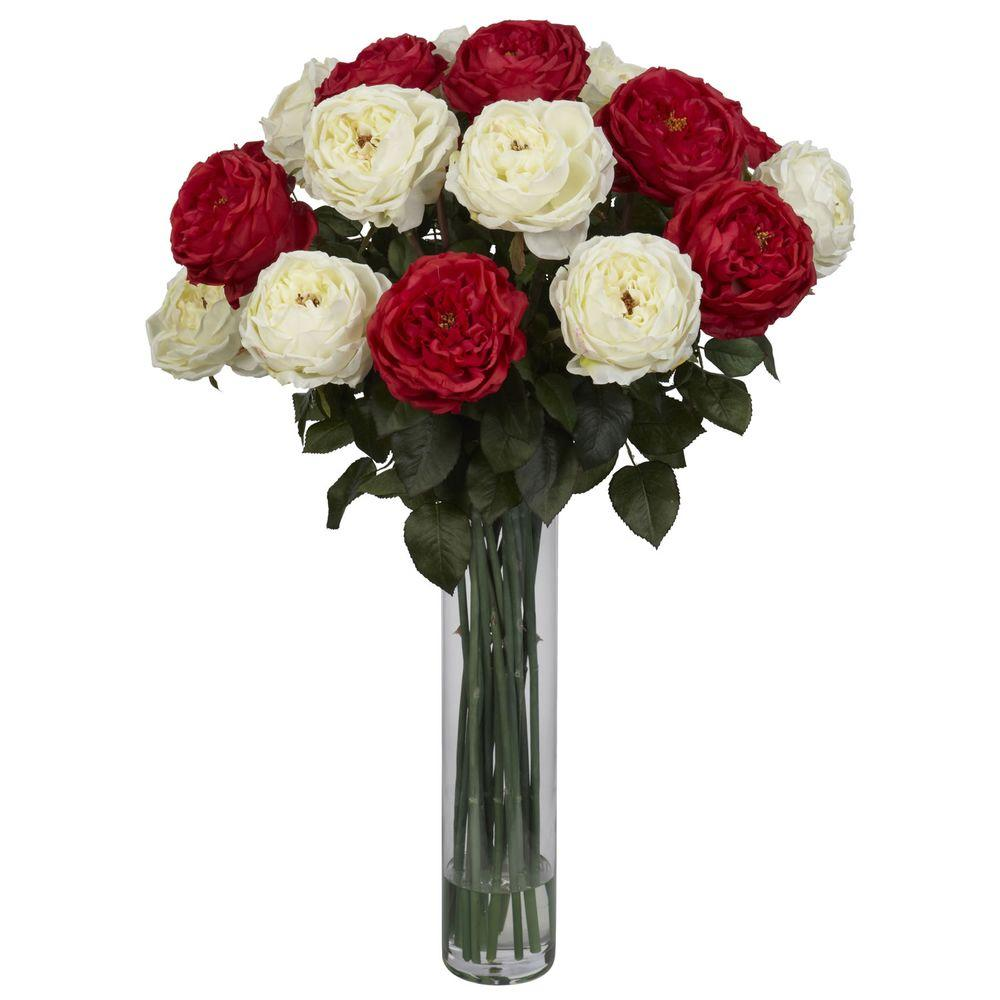 H Red White Fancy Rose Silk Flower Arrangement 1219 Rw The Home Depot