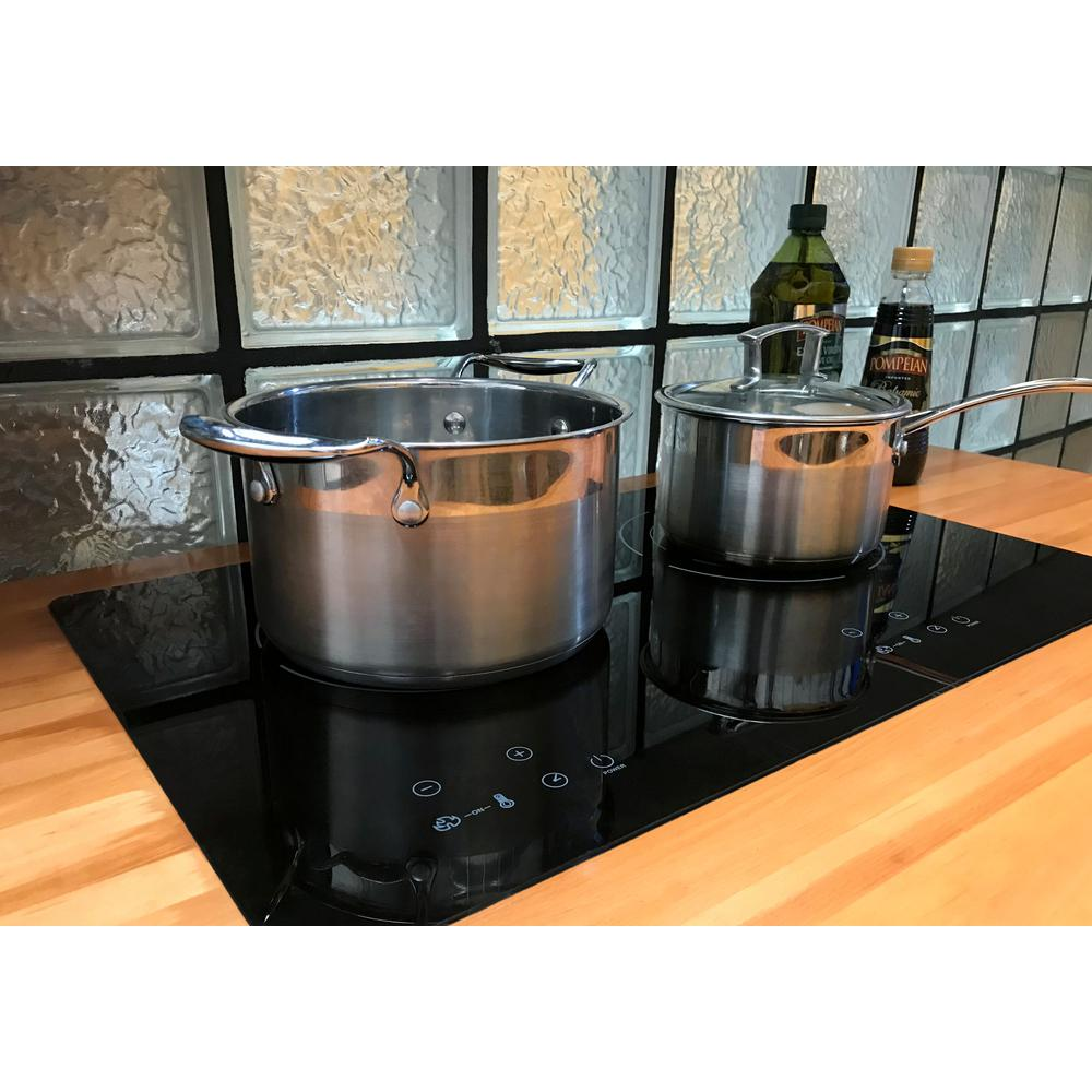 True Induction 24 in. Glass Induction Cooktop in Black with 2 Induction Elements