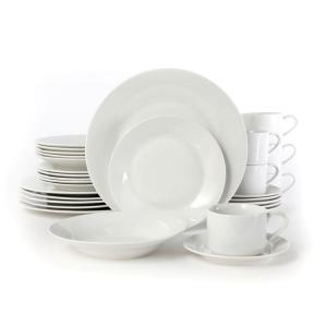 Gibson Home Rosendal 30-Piece White Porcelain Dinnerware Set by Gibson Home
