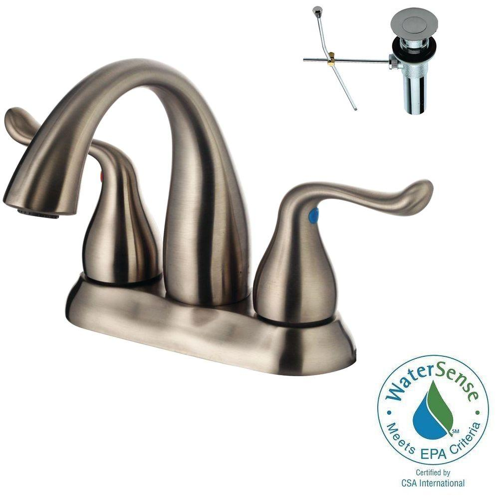 Yosemite Home Decor 4 In. Centerset 2-Handle Bathroom Faucet In Brushed Nickel With Pop-Up Drain