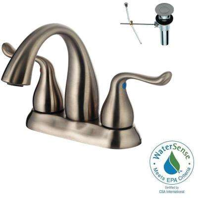 4 in. Centerset 2-Handle Bathroom Faucet in Brushed Nickel with Pop-Up Drain