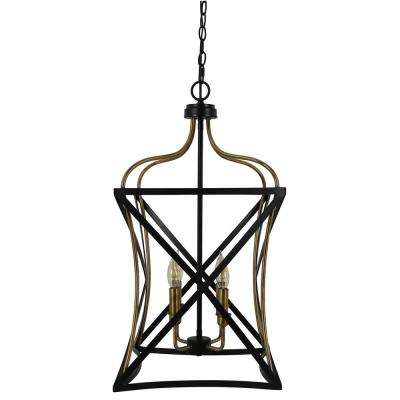 Bowery 4-Light Black and Brass Foyer Pendant
