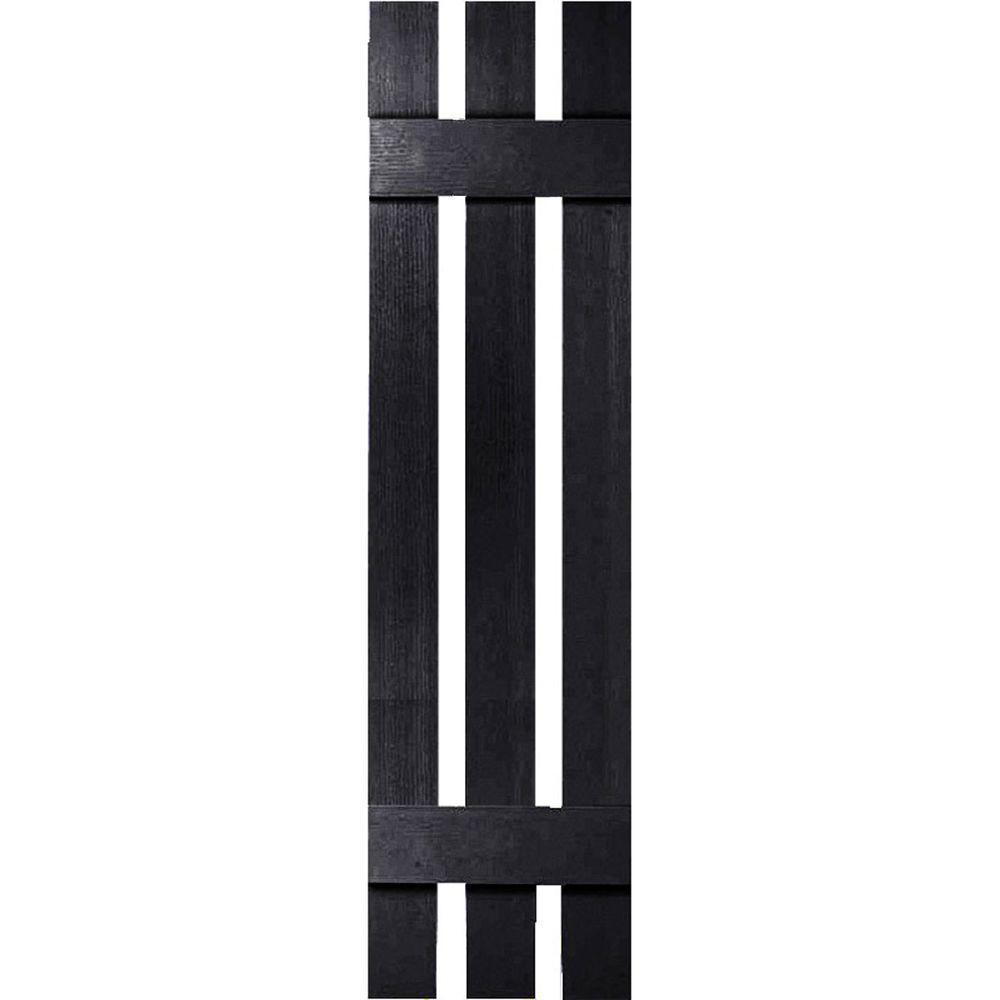 Ekena Millwork 12 in. x 55 in. Three Board Spaced Shutters Pair Black