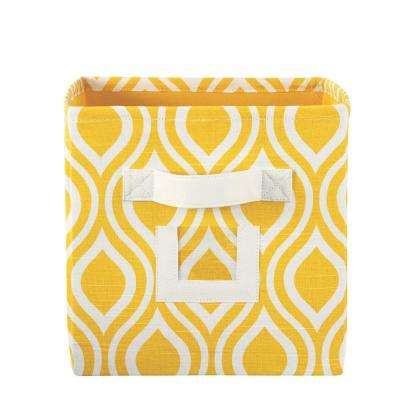 H Nichole Yellow Fabric Storage Bin With Handle