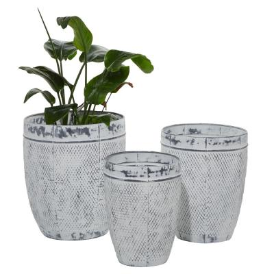 16 in., 18 in. and 20 in. Whitewashed Textured Round Grey Metal Planters (Set of 3)
