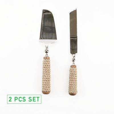 Roped Dessert Knifes 2-Piece Dessert Tool Set Stainless Steel Roped Handle Server