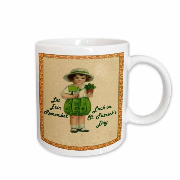 9325f9bf 3dRose Sandy Mertens St. Patricks Day Shamrocks and Vintage Girl 11 oz.  White Ceramic Coffee Mug mug_42893_1 - The Home Depot