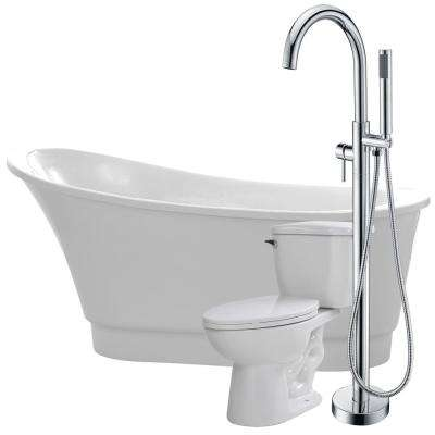 Prima 67 in. Acrylic Flatbottom Non-Whirlpool Bathtub in White with Kros Faucet and Kame 1.28 GPF Toilet