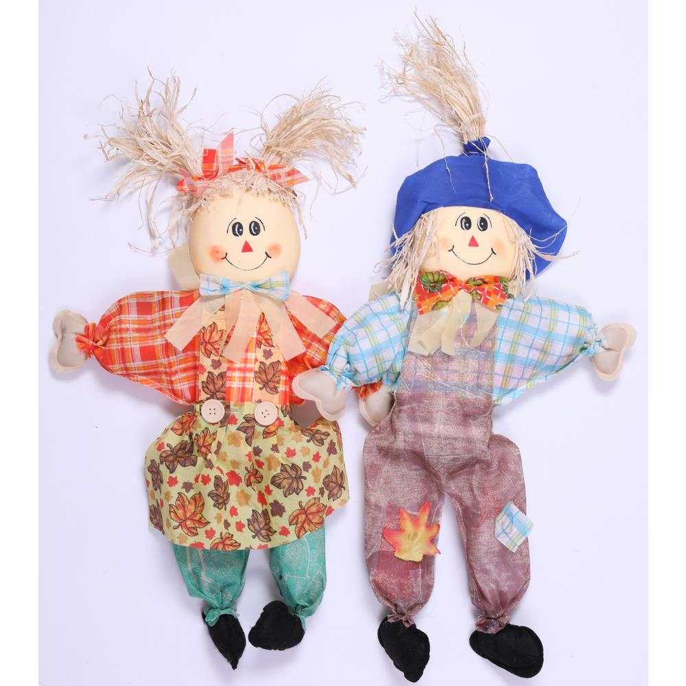 24 in. Sitting Scarecrow Sister and Brother Set with Blue Hat