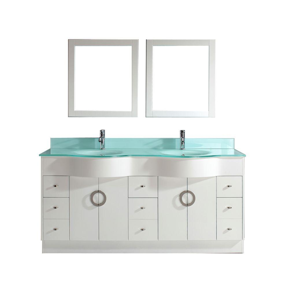 Studio Bathe Zoe 72 In. Vanity In White With Glass Vanity Top In Mint And