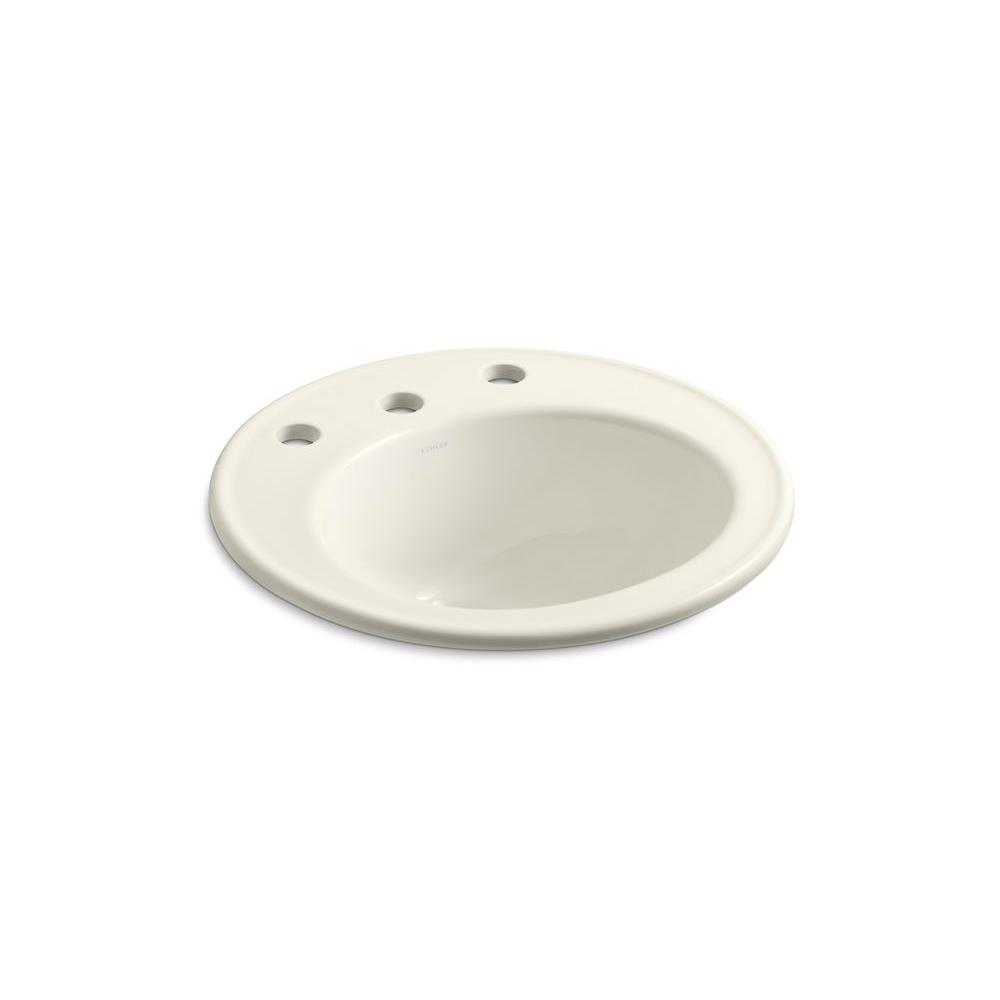 KOHLER Brookline Drop-In Vitreous China Bathroom Sink in Biscuit with Overflow Drain