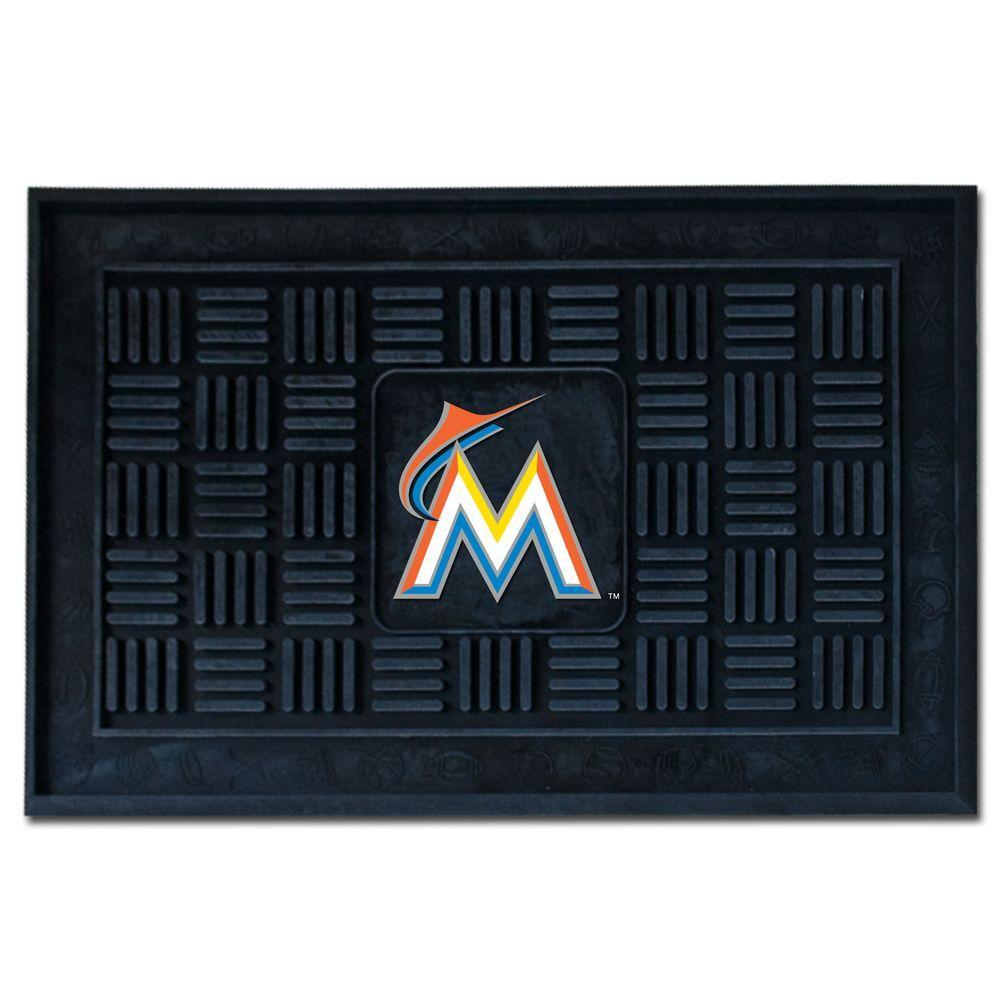 MLB Miami Marlins Black 19 in. x 30 in. Vinyl Indoor/Outdoor Door Mat