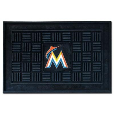 MLB Miami Marlins Black 19 in. x 30 in. Vinyl Indoor/Outdoor Door Mat