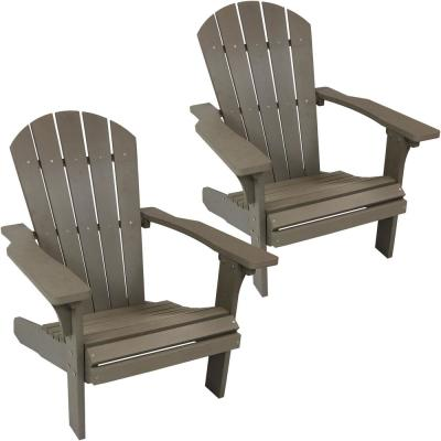 All-Weather Gray Patio Plastic Adirondack Chair (Set of 2)