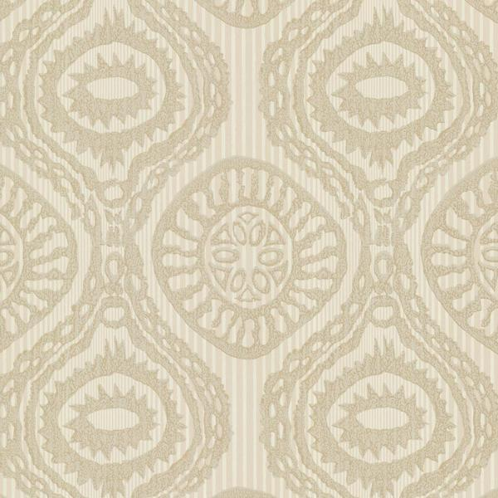 Brewster Beige Marrakech Medallion Stripe Wallpaper Sample HZN43033SAM