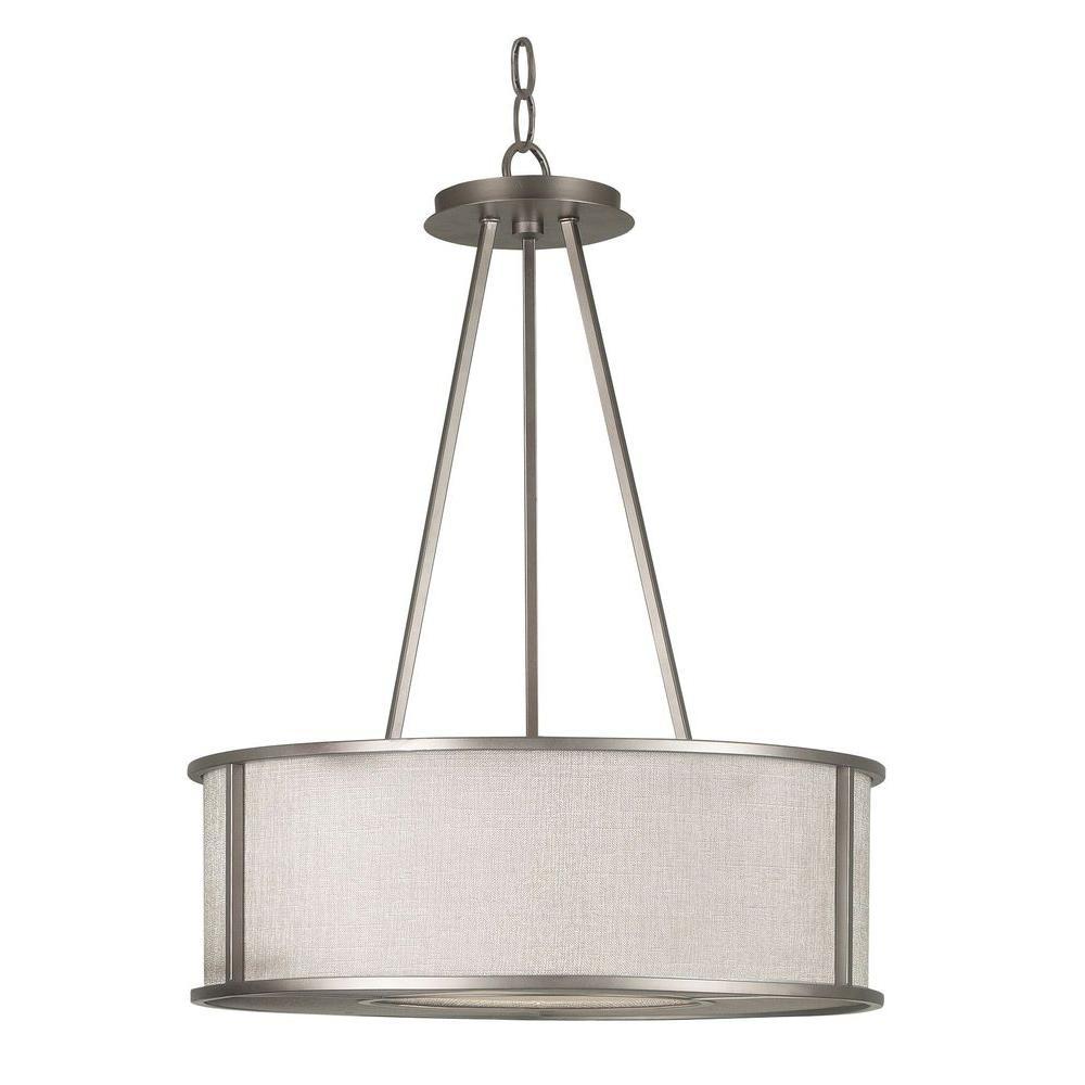 Kenroy Home Lighting Keen Bronze Pendant Light With Drum: Kenroy Home Whistler 3-Light Bronze Gilt Pendant-91580BZG