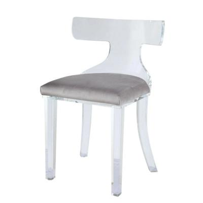 Gray and Clear Velvet Upholstered Acrylic Accent Chair with Mid Backrest
