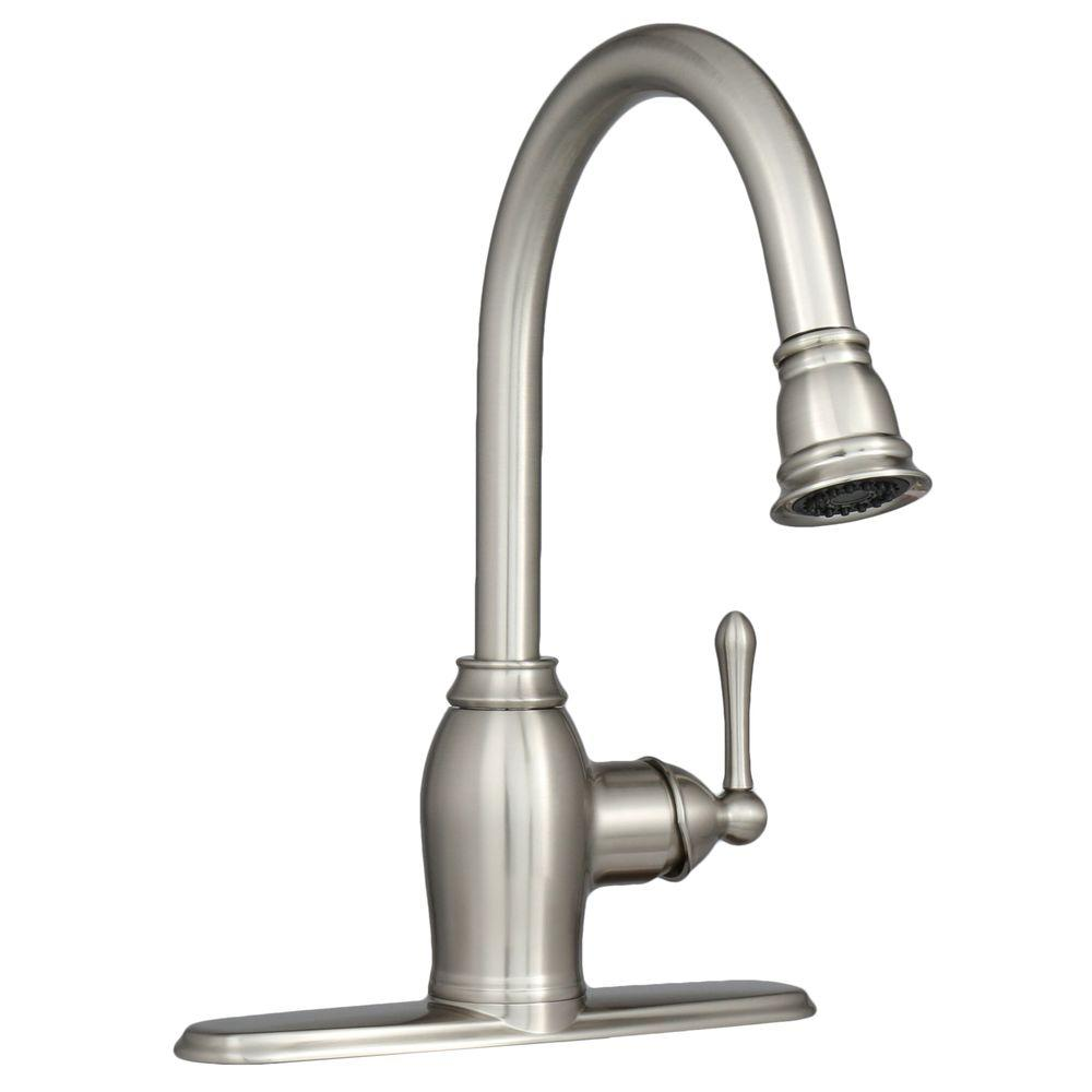 kitchen faucet brushed nickel ez flo metro collection european flair single handle pull 19486