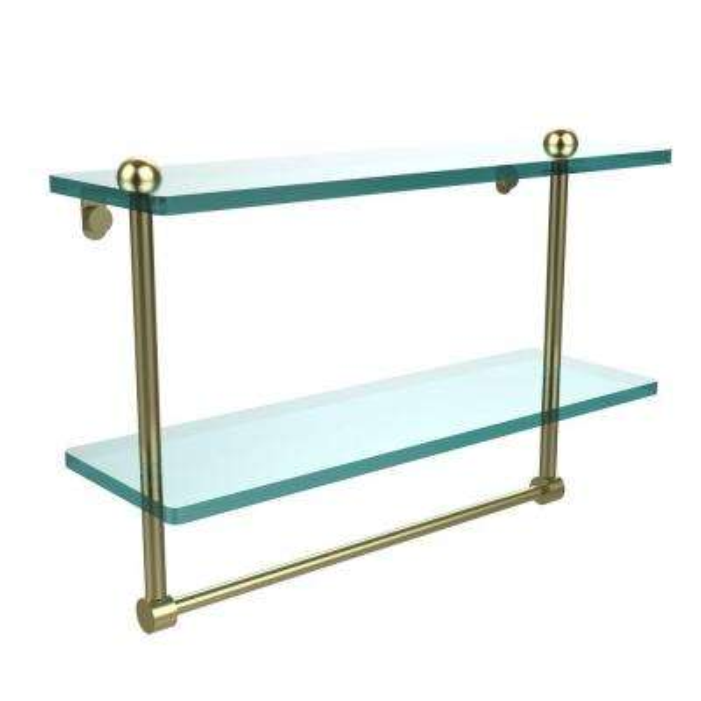 16 in. L  x 12 in. H  x 5 in. W 2-Tier Clear Glass Bathroom Shelf with Towel Bar in Satin Brass