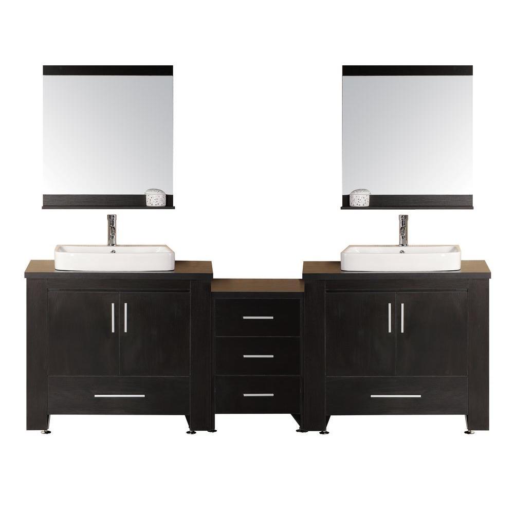 Washington 96 in. W x 22 in. D Vanity in Espresso with Water Resistant Vanity Top and Mirror in Black