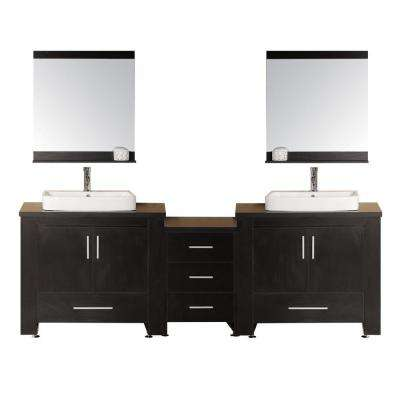 Washington 96 in. W x 22 in. D Vanity in Espresso with Water Resistant Vanity Top and Mirror in Black