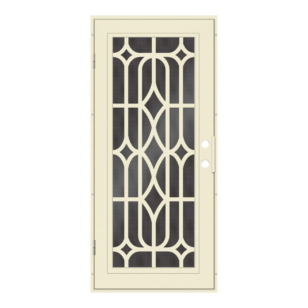 30 in. x 80 in. Essex Beige Hammer Left-Hand Surface Mount Security Door with Black Perforated Metal Screen