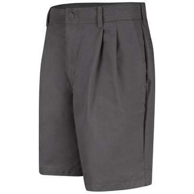 Men's Size 34 in. x 10 in. Charcoal Pleated Front Short